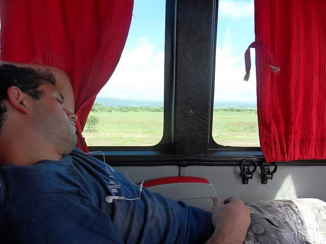 Sleeping on a bus