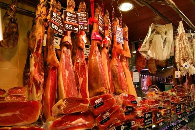 Jamon - La Boqueria Market, Barcelona, Spain