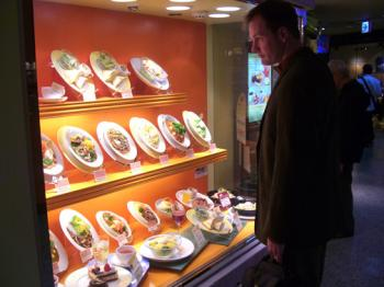 Plastic food displays are typical in the train station
