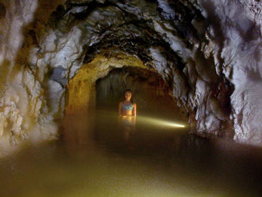 The caves are old mine tunnels that were dug to increase hot water flow from the springs