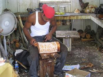 Making souvenirs in Freemont, Bahamas
