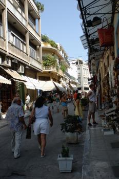 Crowded street in the Plaka, Athens