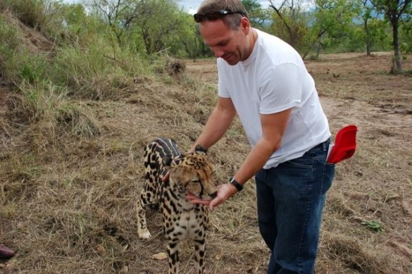 "With a ""good kitty"" in South Africa"