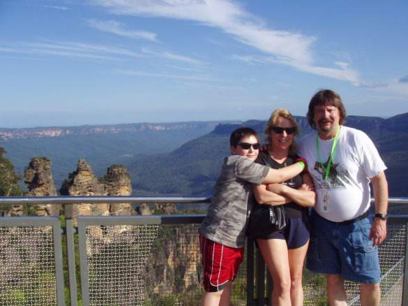 Ellen with her son, Orion, and husband, John, in the Blue Mountains, Australia