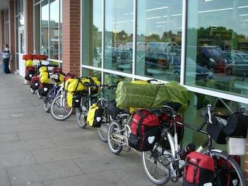 Bicycles outside a grocery store, UK