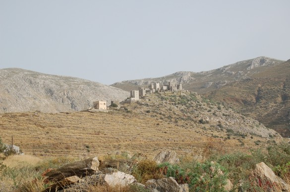 Vathia's rival feud towers rise over the southern Mani landscape.