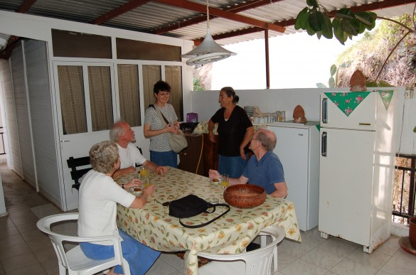 Guests at the Xenia Karlaftis Rooms enjoy a chat with Voula, the proprietress (second from right).