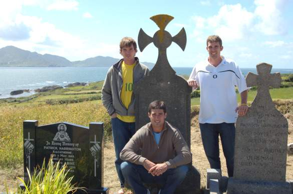 Joey with his two brothers at their great-great grandfather's tombstone in Ireland