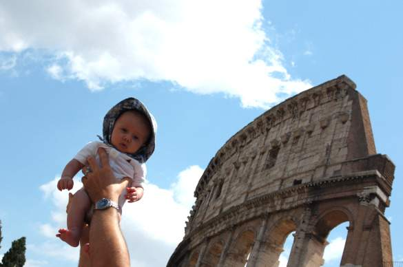 Joey holding Jack for the bird's-eye-view of Rome