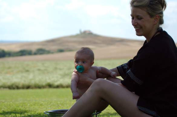 Joey's wife Emily and their son Jack in Tuscany
