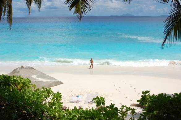 Enjoying an empty beach on Frégate Island in the Seychelles