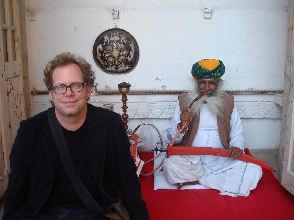With a faux opium smoker in Jodhpur, India