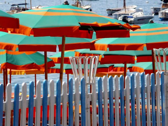 Beach umbrellas at the Amalfi Coast