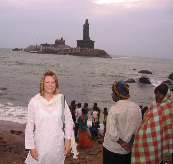 Mariellen Ward at Kanyakumari, the southern tip of India