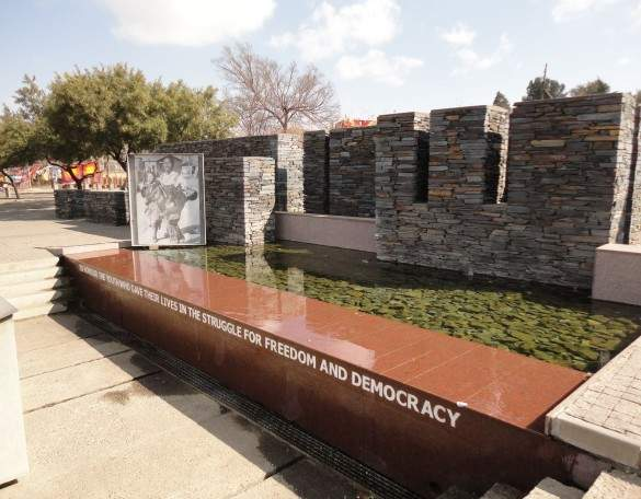 This memorial pays tribute to Hector Pietersen, who was gunned down during the 1976 Soweto student riots.