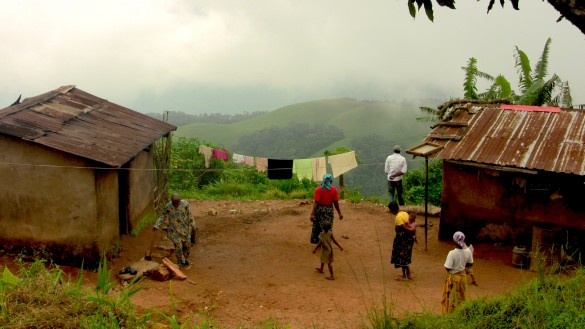 Village mud-brick homes overlook a beautiful view atop the plateau
