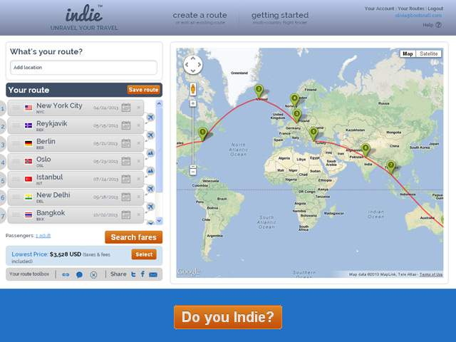 BootsnAll Launches Indie the Worlds First MultiCountry Flight – World Travel Map Planner