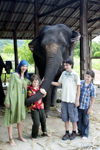 kids with elephants