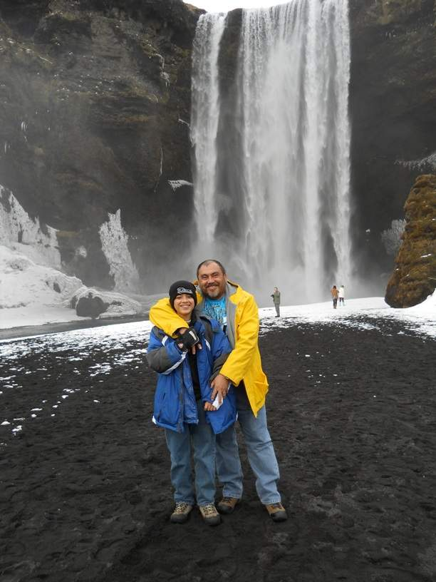 Gus and Nicolas Share a Kodak Moment at Skogafoss
