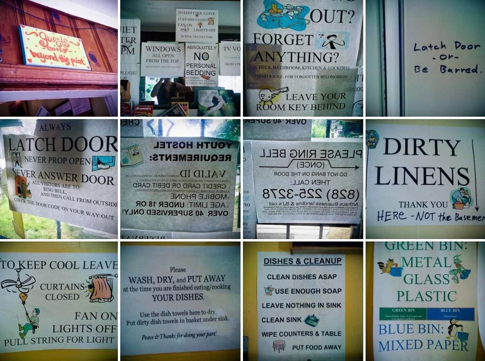 Hostel signs