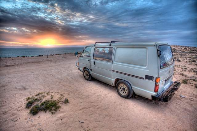 Van at sunset