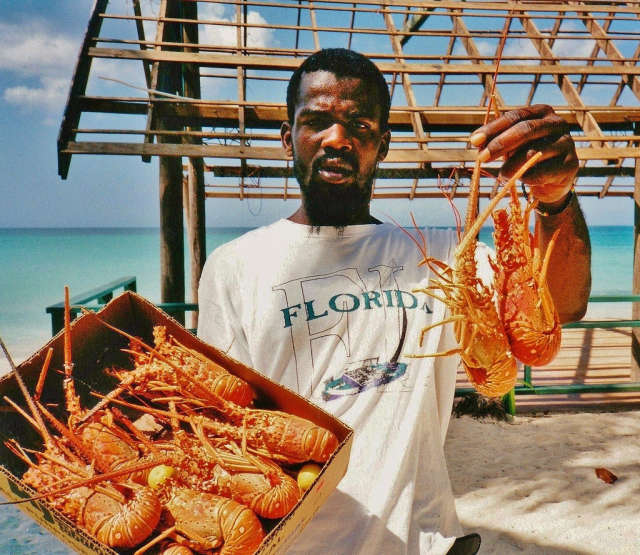 Beach seafood vendors