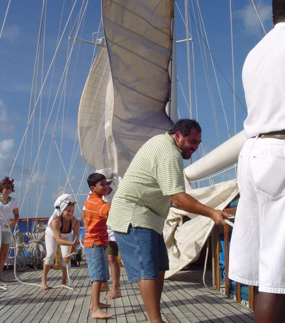 Gus and Nic Raising the Sails - Windjammer