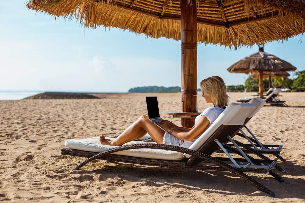 work travel beach