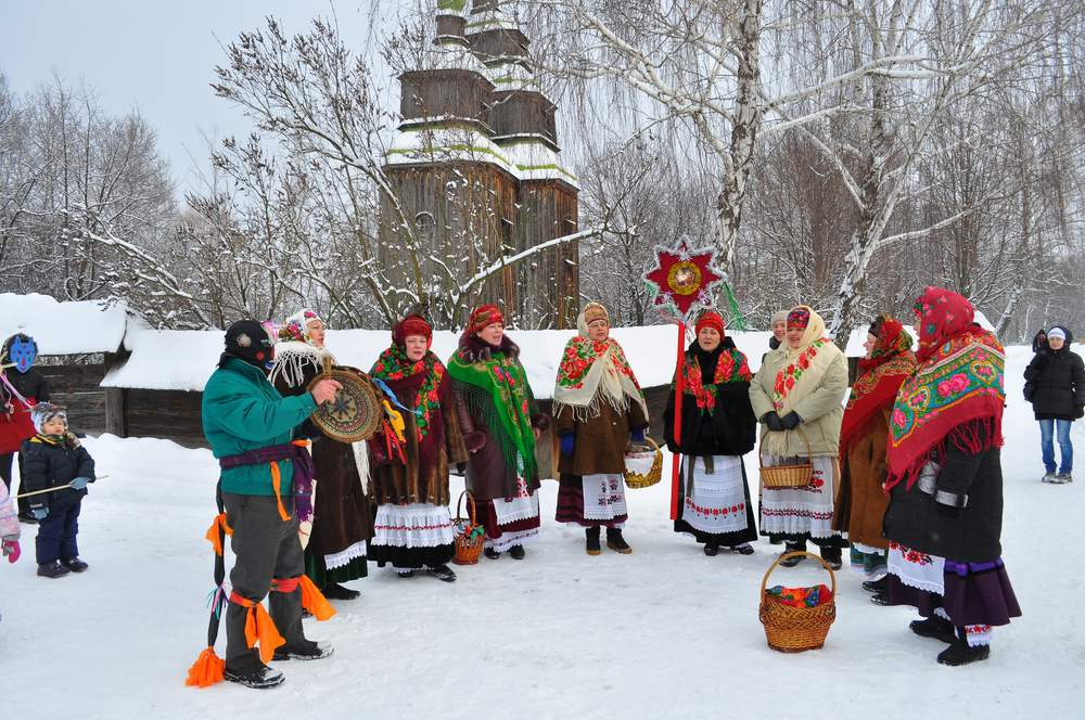 Carolers in Ukraine at Christmas in traditional dress