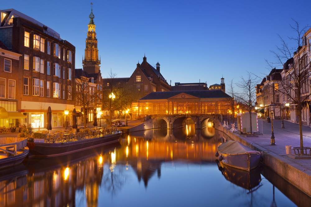 Bridge at night, Leiden, Netherlands