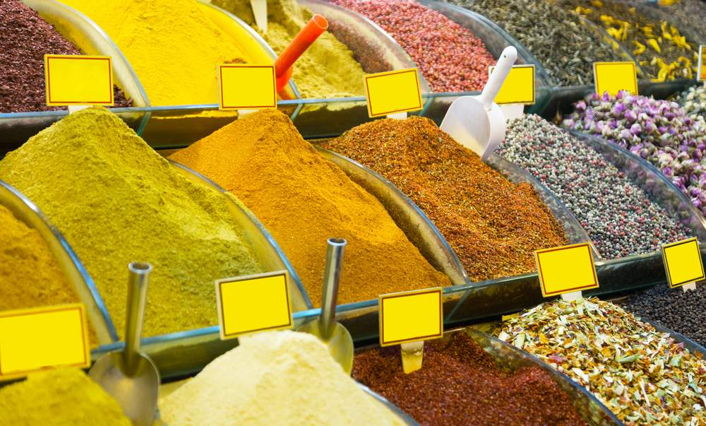 Spices for sale at market in Istanbul, Turkey