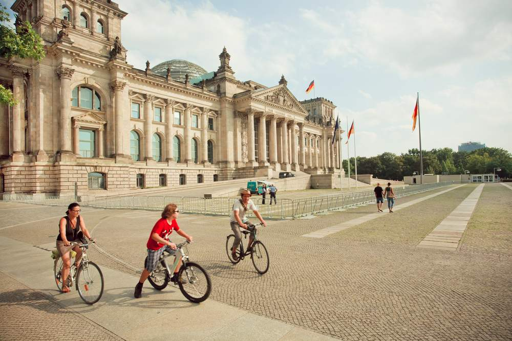 Family biking in Berlin