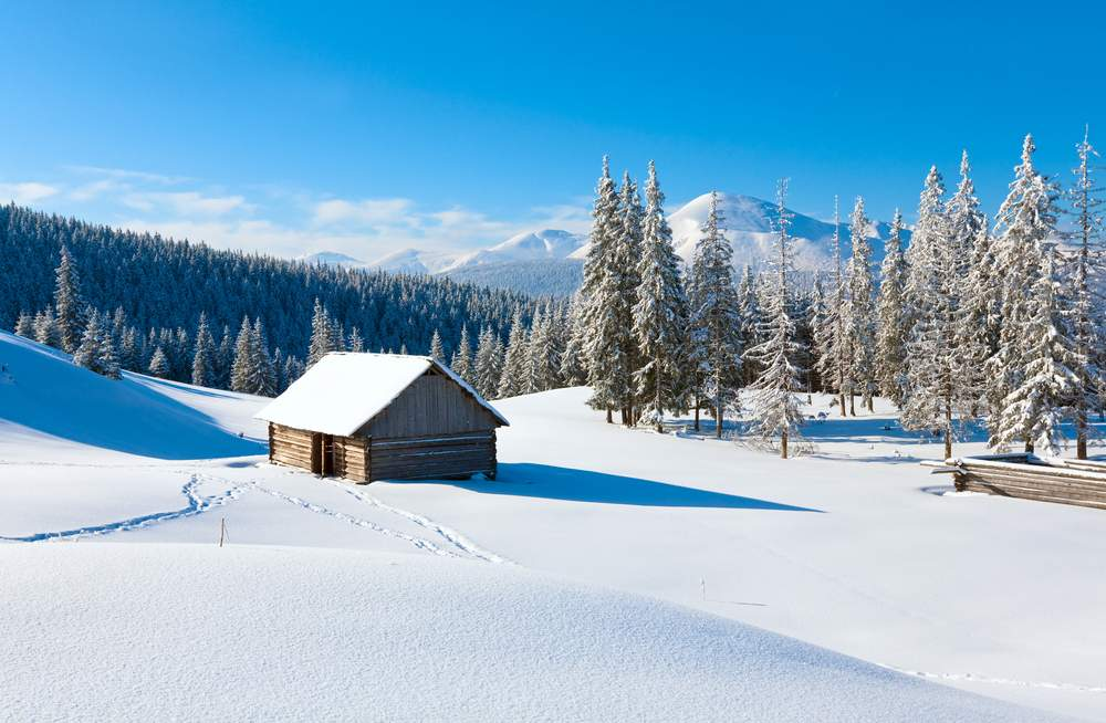 Snowy farm in Carpathian Mountains