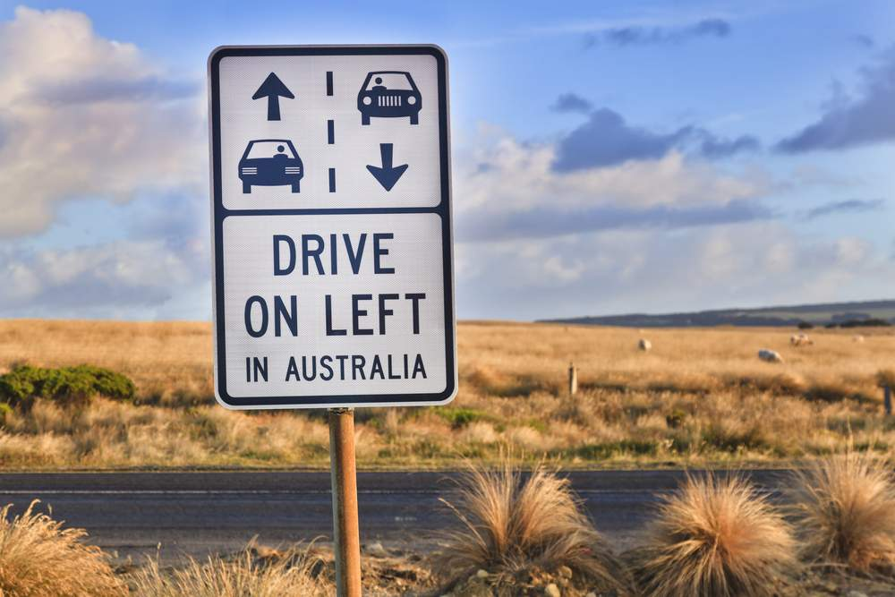 drive on the left sign on the Great Ocean Road