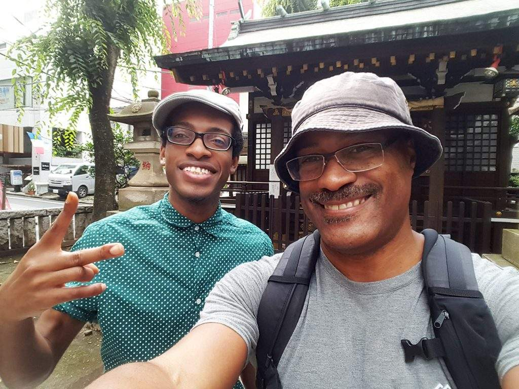 Maurice D. Valentine with his cousin, Rejean, in Tokyo, Japan