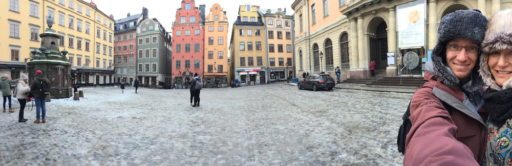 Dale and Liz in old town Stockholm