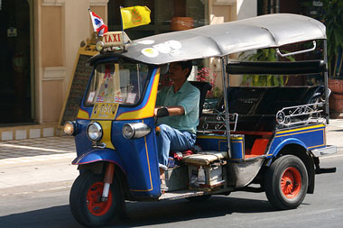 The tuktuk is Thailand\u0027s local version of a taxi. It\u0027s essentially a  three,wheeled vehicle that looks like a modified motorcycle built with a  metal frame